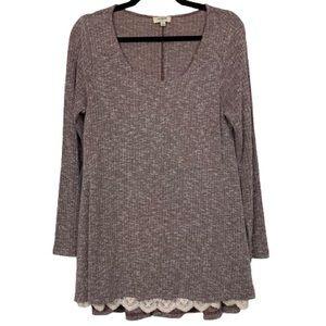 Umgee Long Sleeve Lace Tunic Top